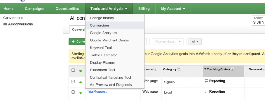 Import Google Analytics conversion goals into AdWords