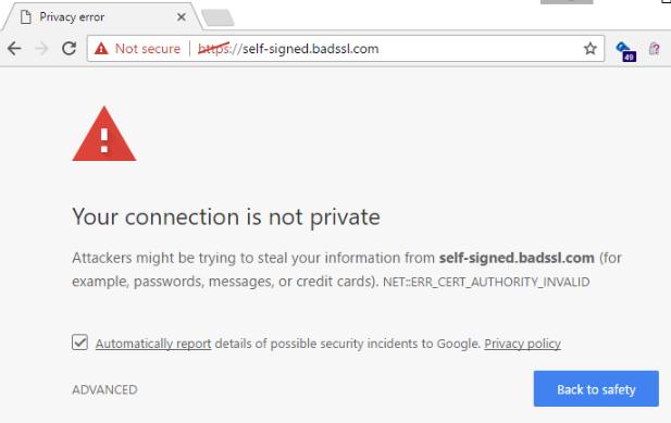 Not Secure website on Google Chrome