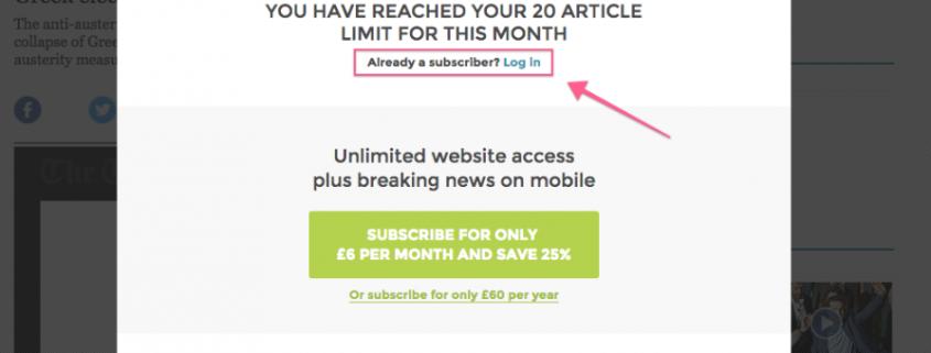 A paywall news website